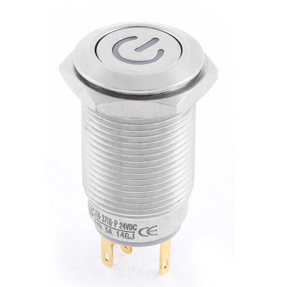 16mm stainless Steel Round Power Indicator LED Self Locking Push Button Switch DC 24V