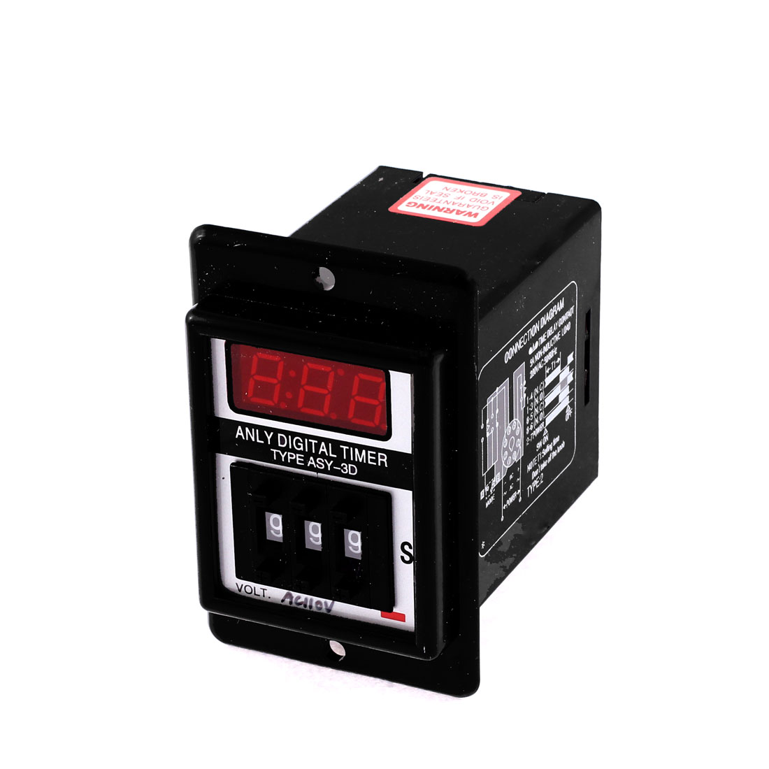 AC 110V 8 Pin 1-999 Second Digital Timer Time Delay Relay Black ASY-3D