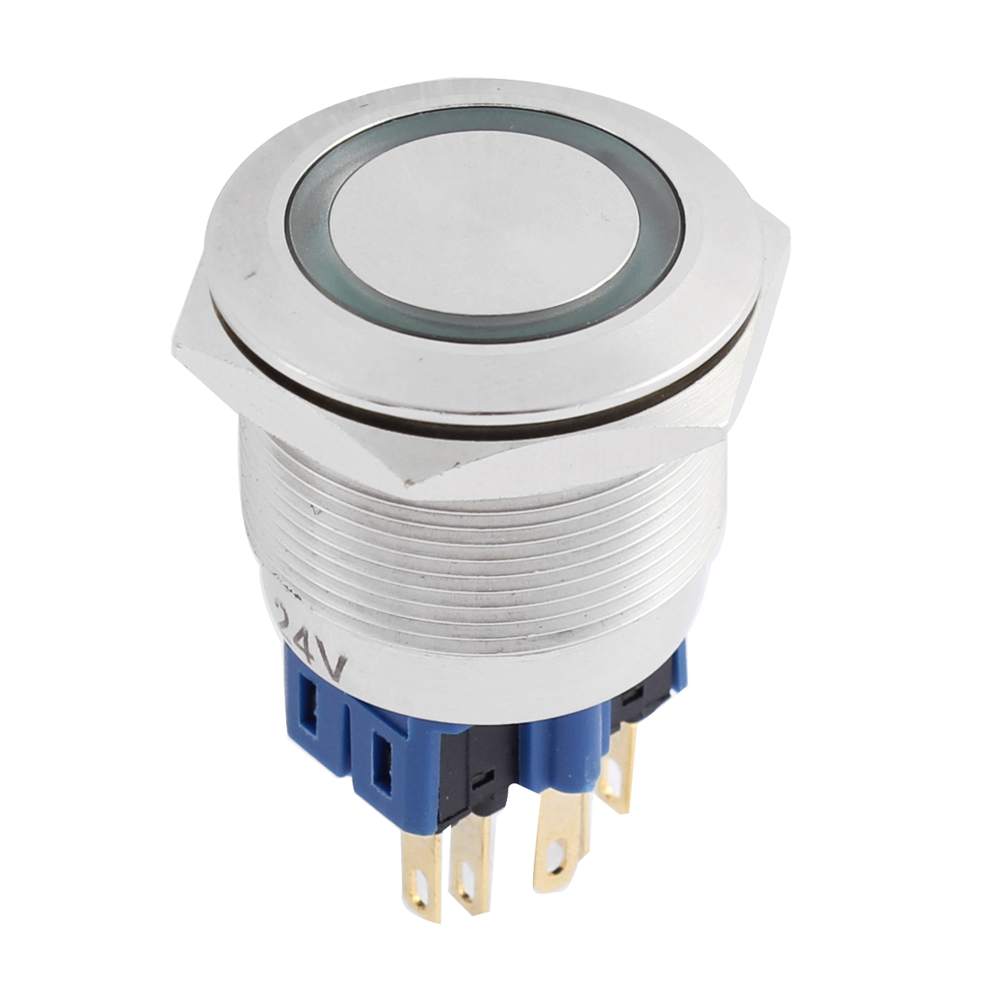 AC 250V 18mm Blue LED Light 25mm Mounted Thread 6 Pins DPST NO/NC Latching Push Button Switch