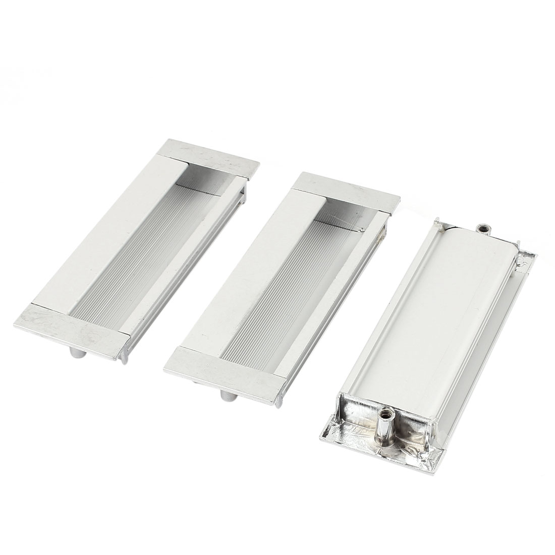 11cmx4cm Aluminium Rectangle Cabinet Door Flush Recessed Pull Handle 3PCS