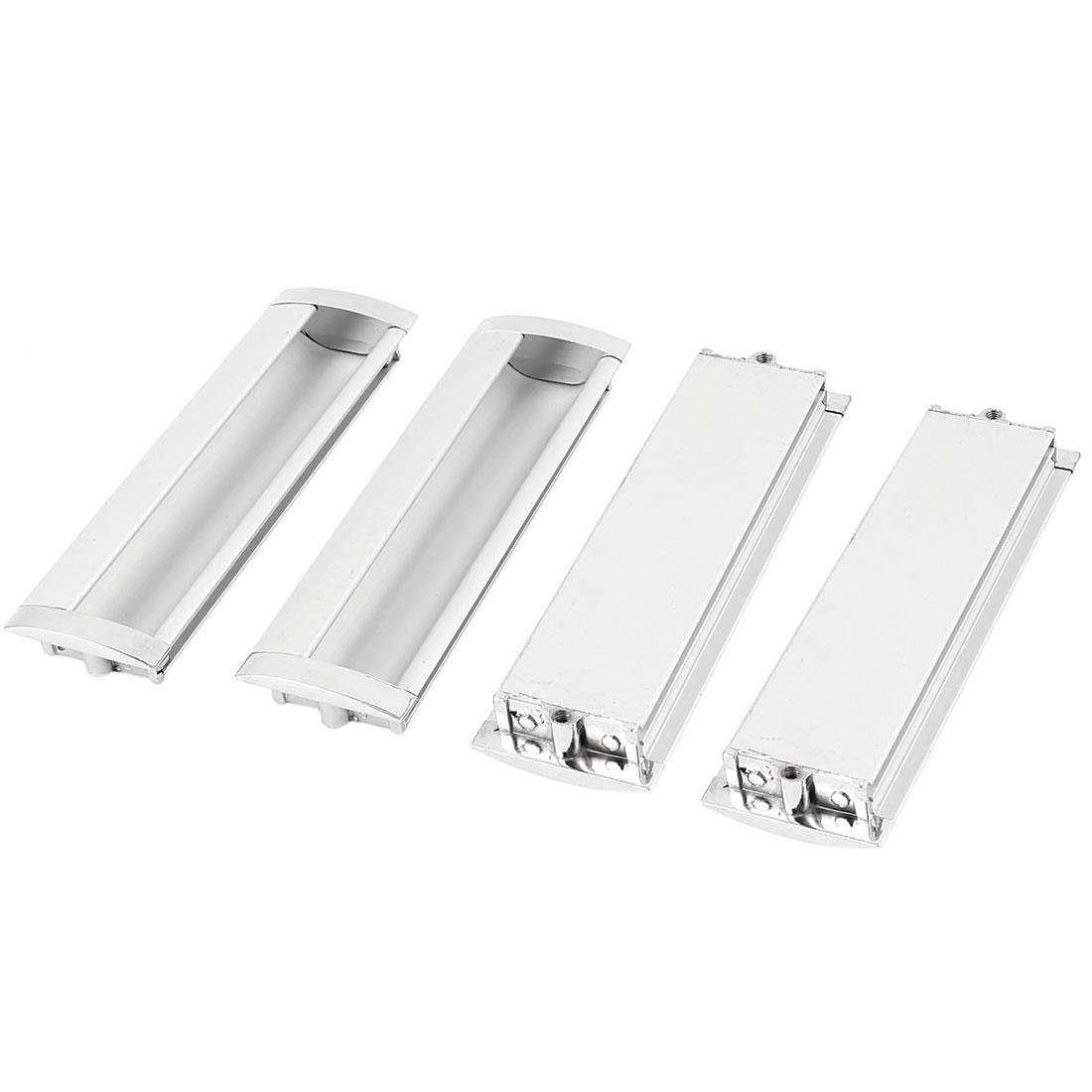 140mmx45mm Aluminium Rectangle Cabinet Door Flush Recessed Pull Handle 4PCS