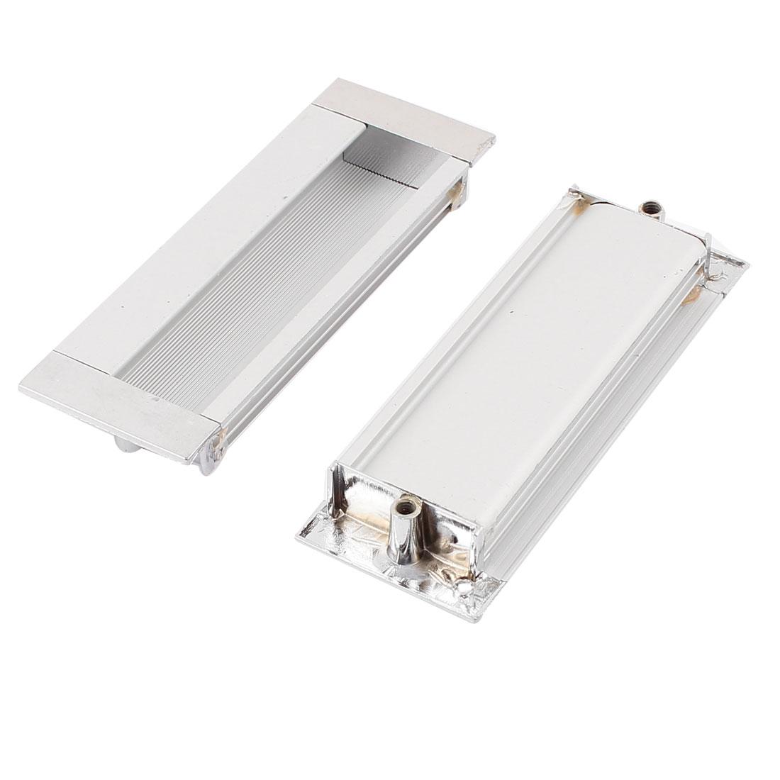 11cmx4cm Aluminium Rectangle Cabinet Door Flush Recessed Pull Handle 2PCS