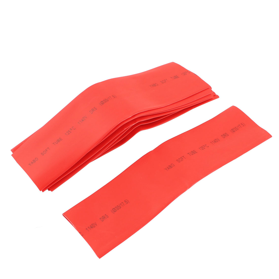 Polyolefin Heat Shrinkable Tube Sleeving 2:1 Shrink Ratio 35mm x 20cm Red 10Pcs