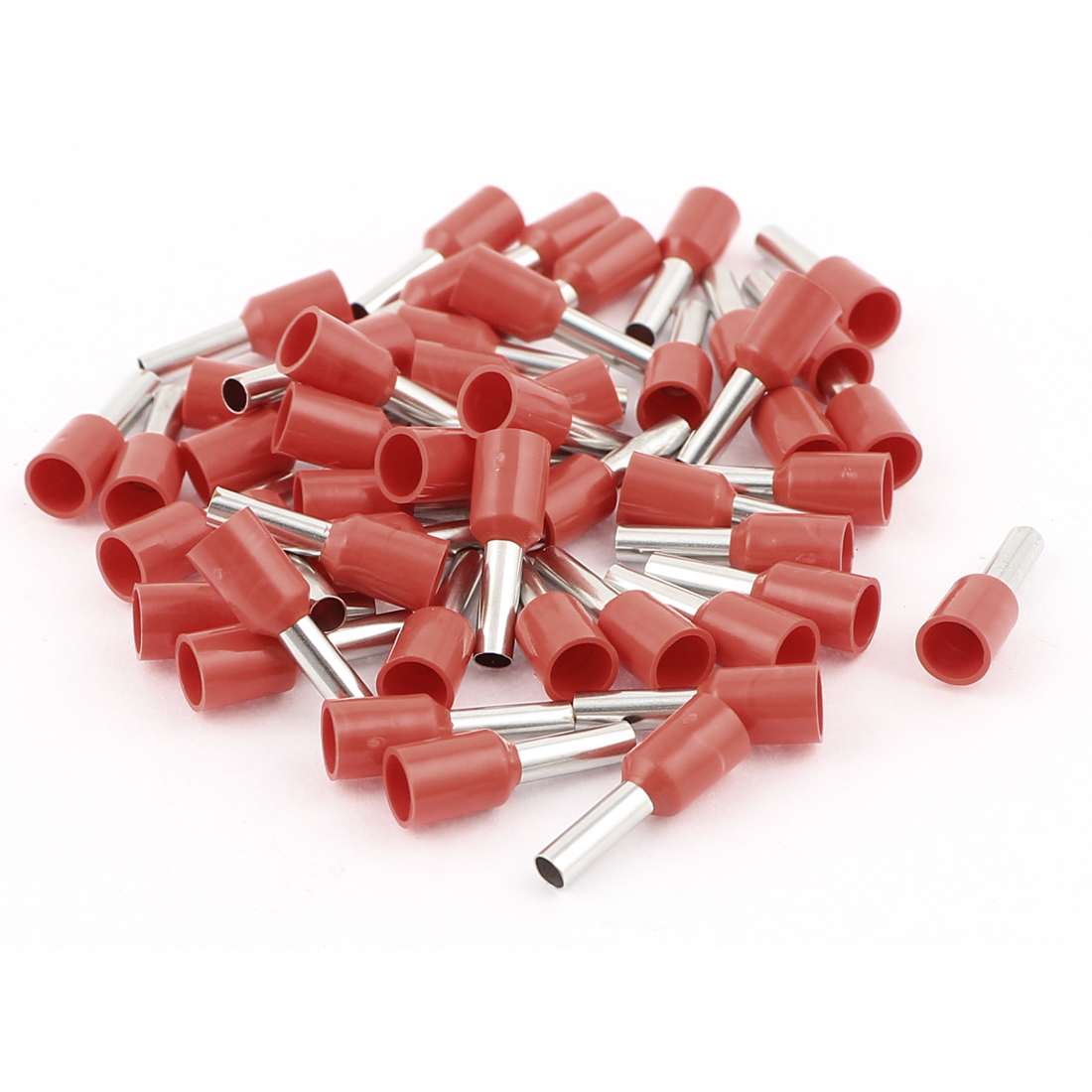 50Pcs Red Wire Copper Crimp Insulated Ferrule Pin Cord End Terminals AWG14