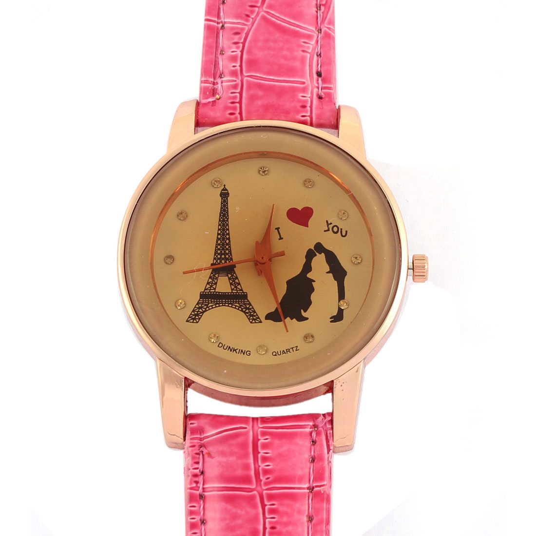 Faux Leather Band Rhinestone Accent Casual Analog Quartz Wrist Watch for Lady