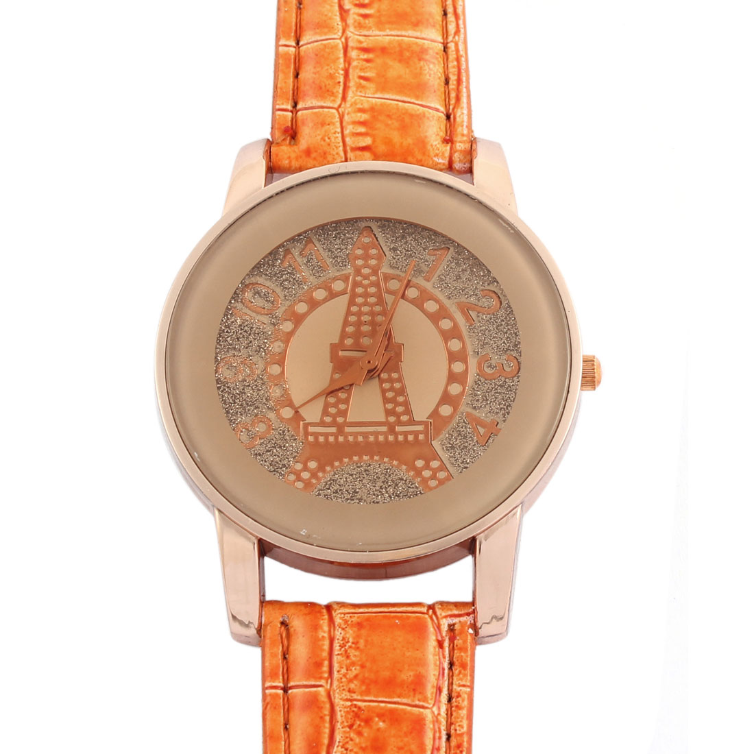 Faux Leather Band Glittery Powder Pattern Casual Analog Quartz Wrist Watch for Lady