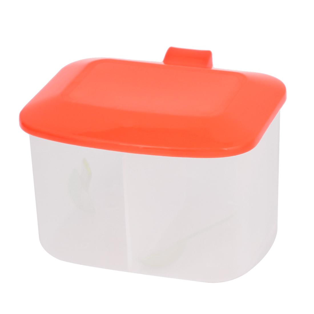 Orange Red Plastic 2 Seasoning Box Spices Condiment Container Case Holder w Spoons