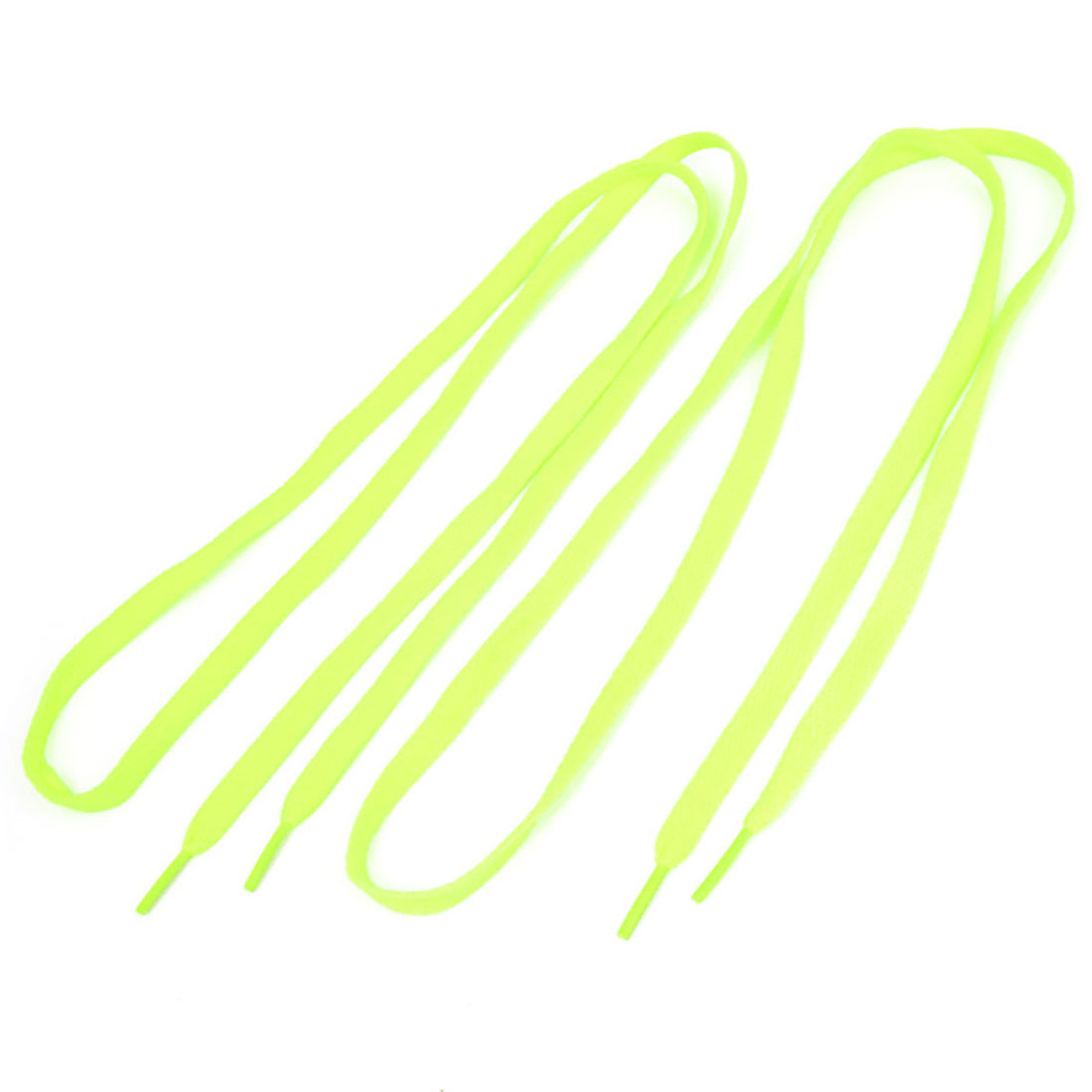 Pair Yellow Green Plastic Tip Flat Shoelaces Shoe Lace String for Sports Shoes Boots Sneakers Skates