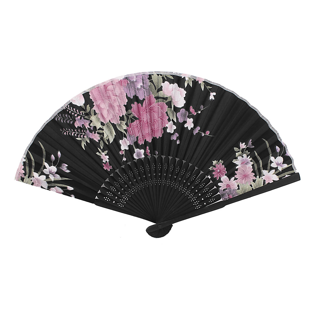 Lady Chinese Style Bamboo Ribs Flower Pattern Folding Dancing Hand Fan Black Pink