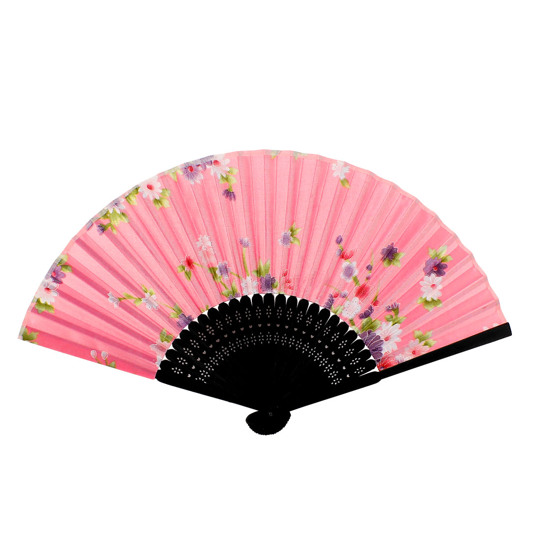 Summer Japanese Style Black Bamboo Ribs Purple Flower Pattern Folding Hand Fan Pink 37cm for Lady