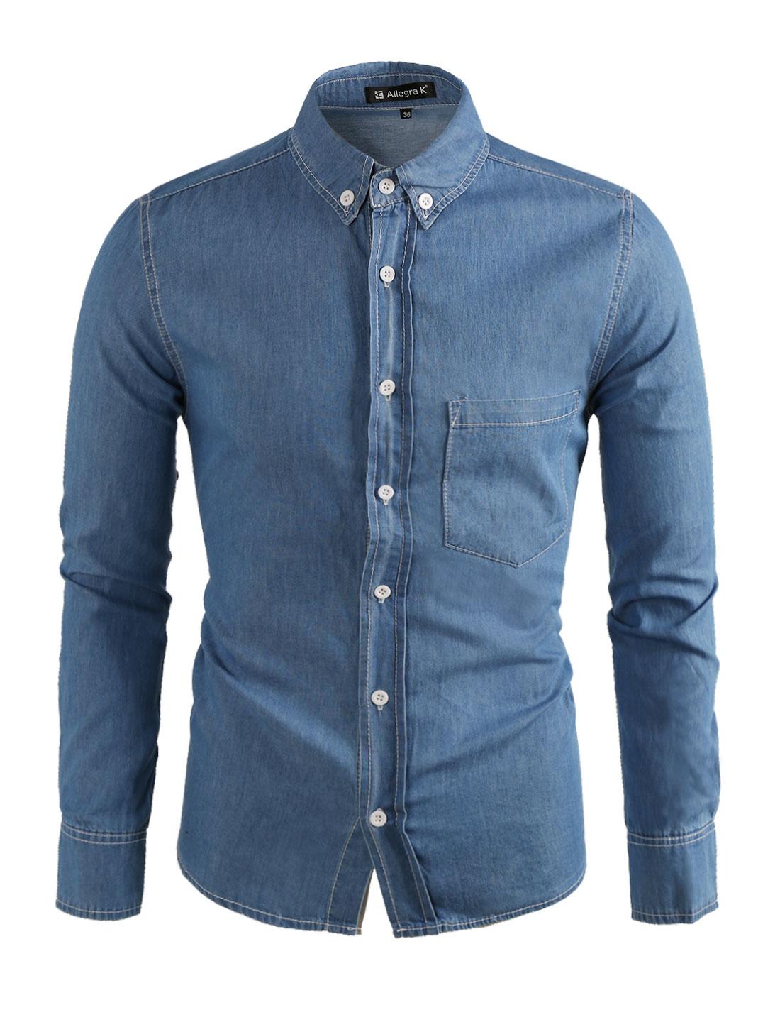 Men Button Up One Chest Pocket Long Sleeves Denim Shirt Blue M