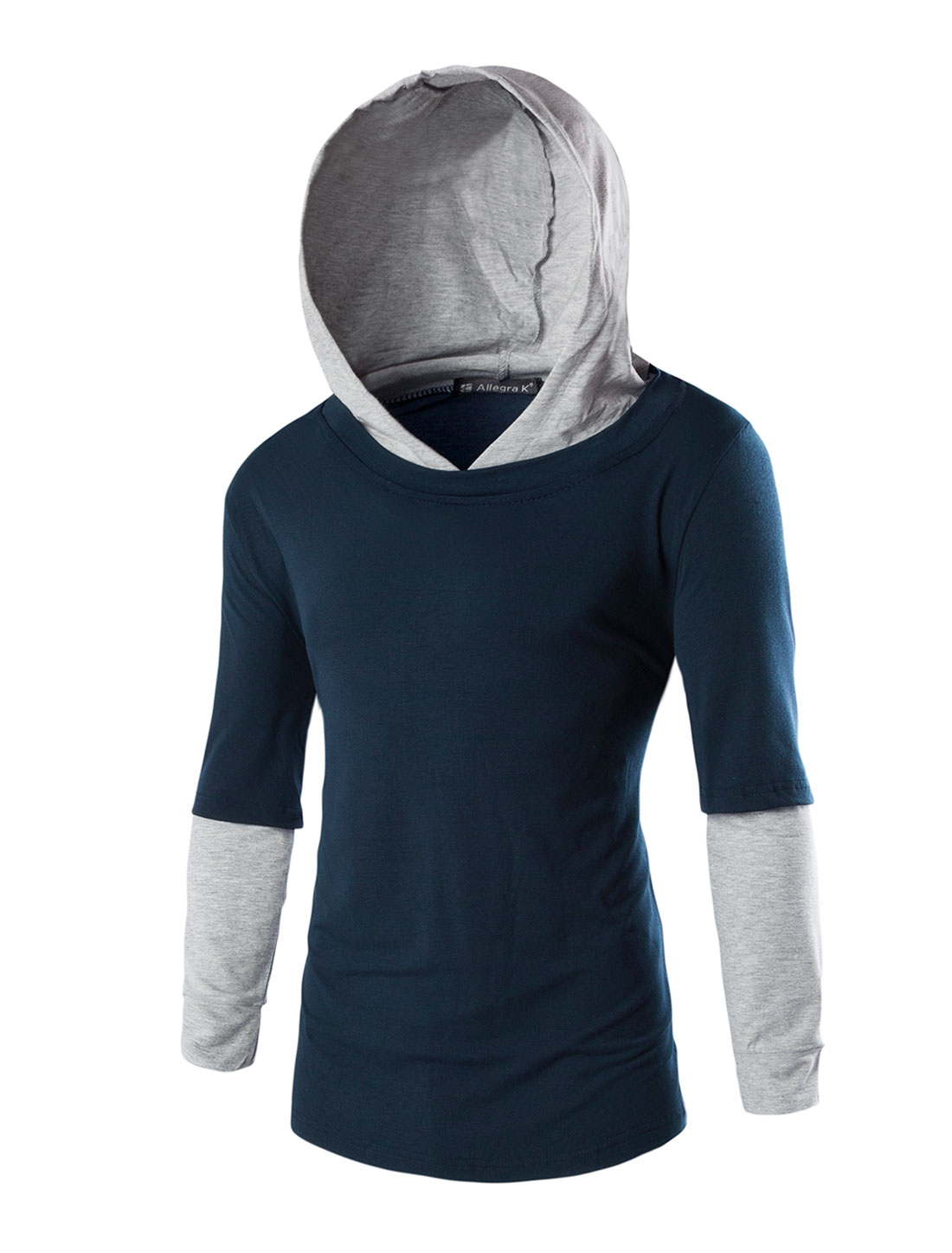 Men Long Sleeve Layered Design Hoodie Tee Shirt Navy Blue M