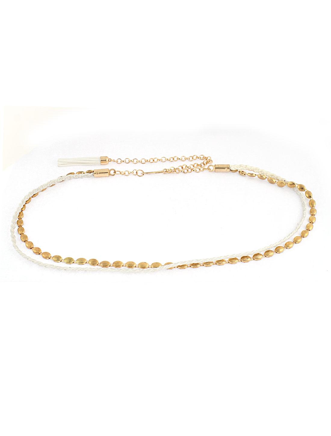 Gold Tone Adjustable Hook Closure Waist Chain Belt for Women