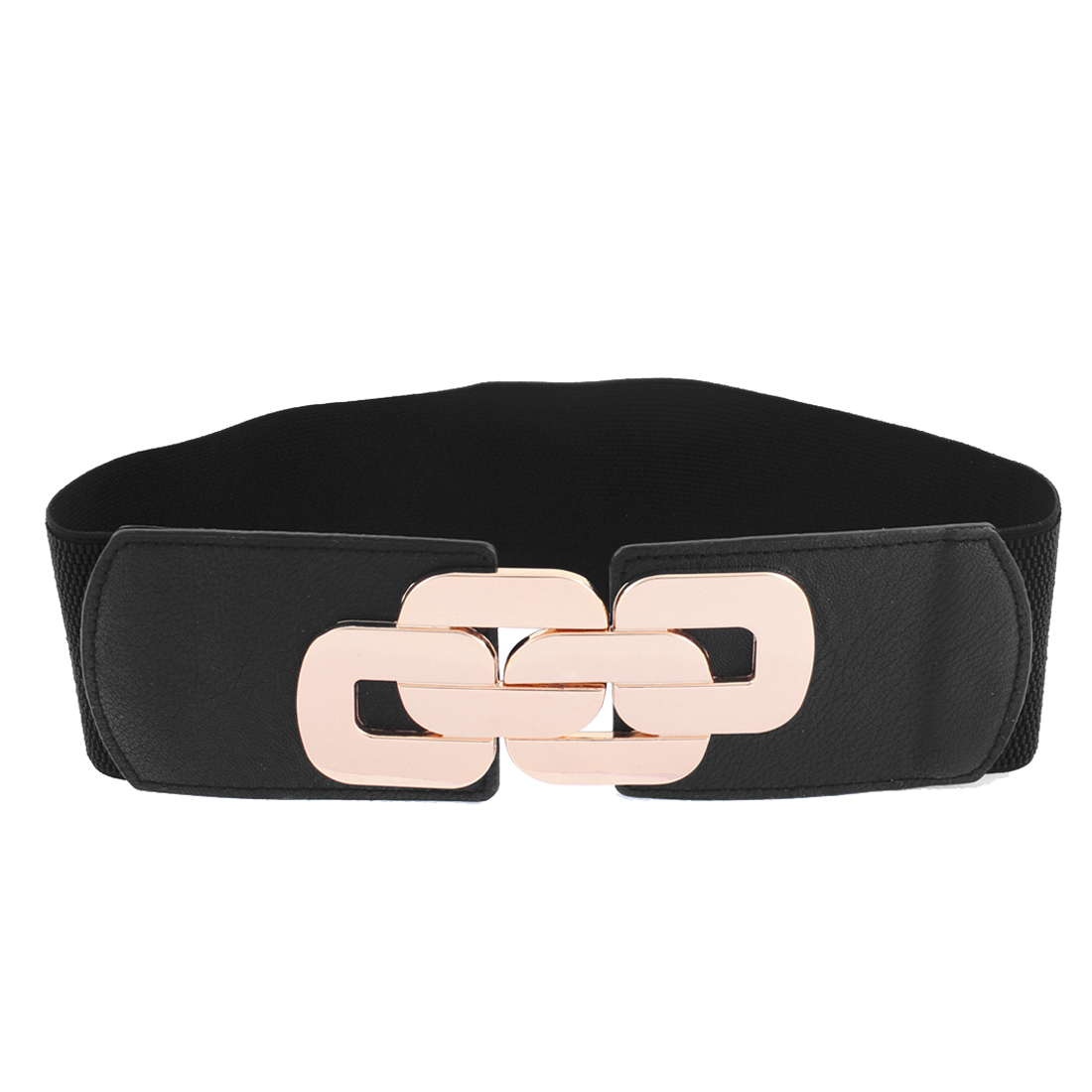 Black Elastic Fabric Interlocking Buckle Belt for Lady