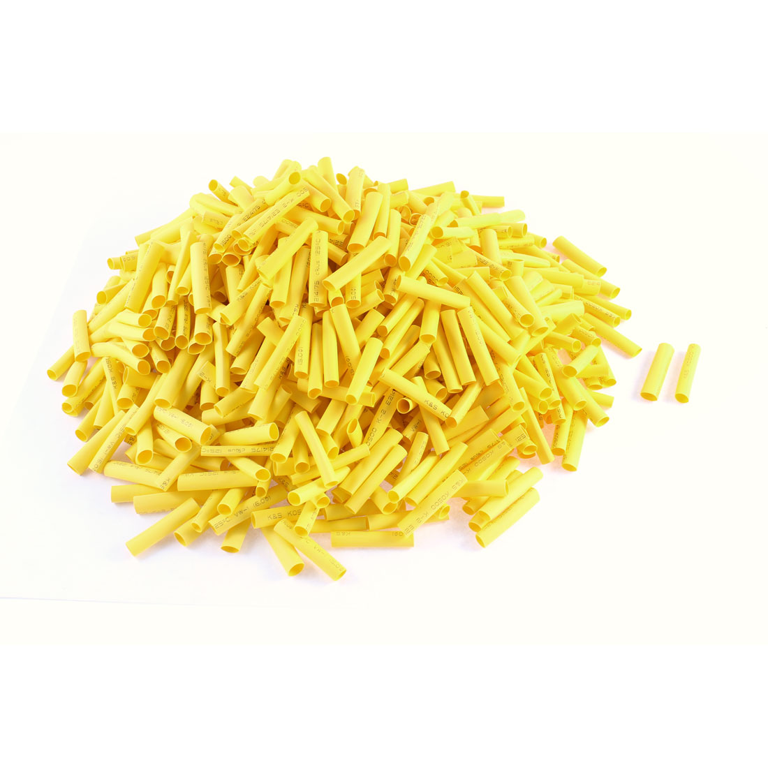 800 Pcs Heat Shrinkable Flexible Polyolefin Yellow Tube 35mm Long