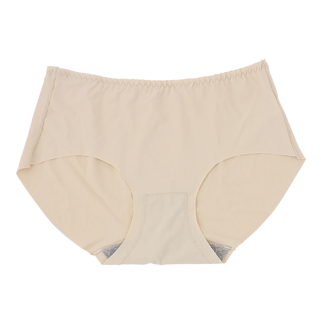 Woman Silky Crossover Front Low Rise Stetchy Underpants Briefs Nude Khaki