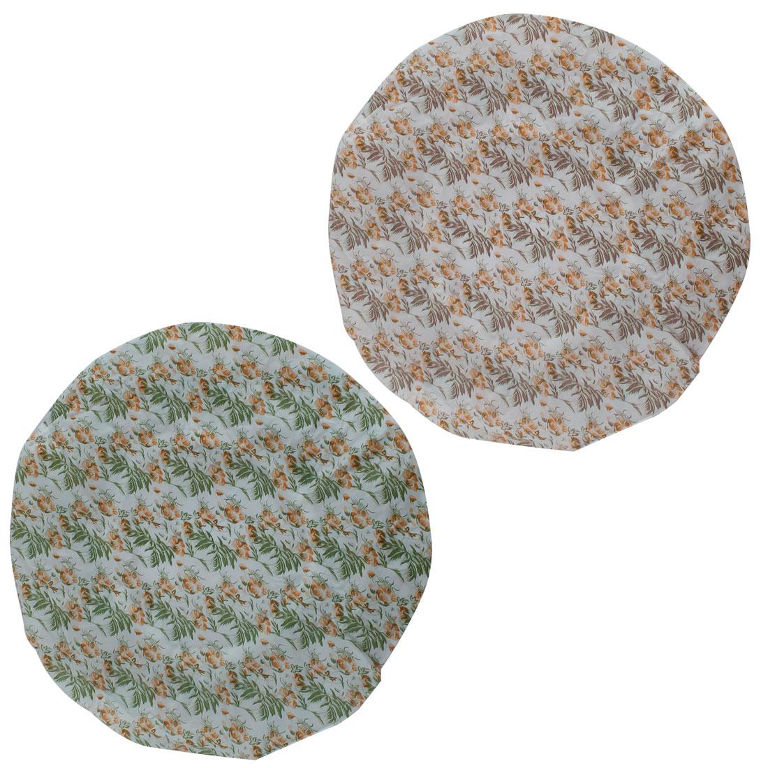 Elastic Hem Flower Leaf Print Green Brown Nylon Shower Cap Bath Hat 2 Pcs