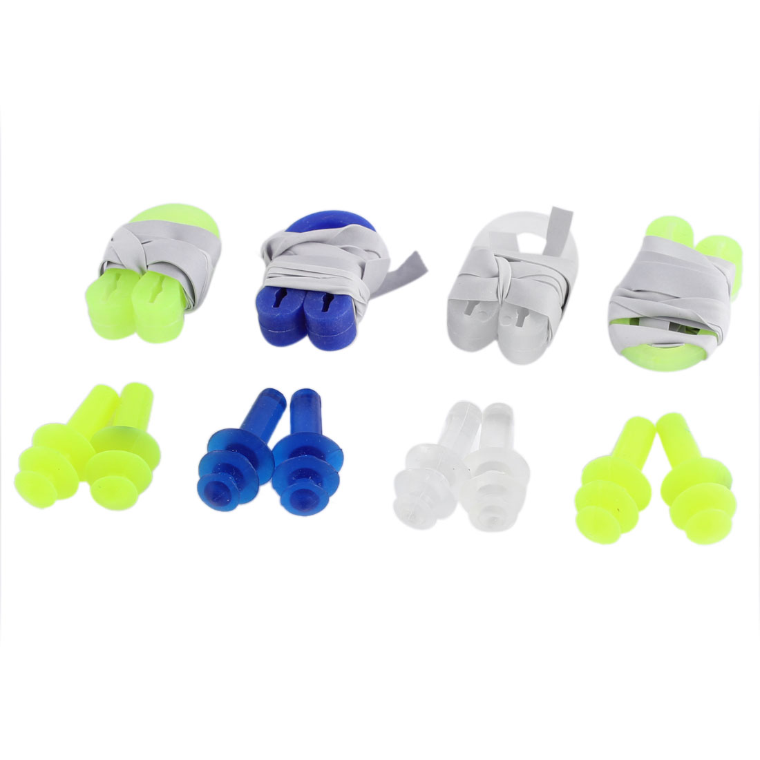 4 Pairs Swimming Guard Tool Silicone Plastic Nose Clip Earplugs Set