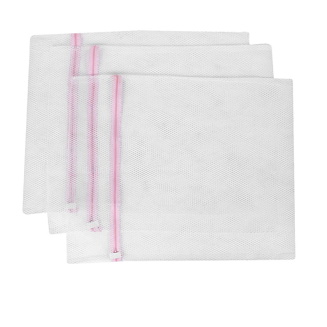 Zippered Mesh Washing Bag Pink White 60cm x 50cm 3Pcs