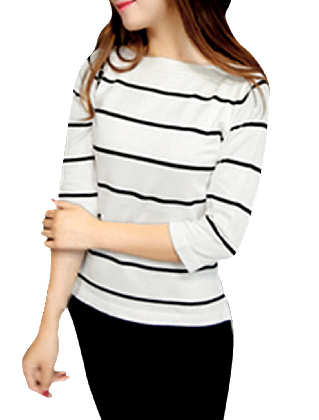 Women Boat Neck 3/4 Sleeves Low High Hem Stripe Knit Shirt White XS