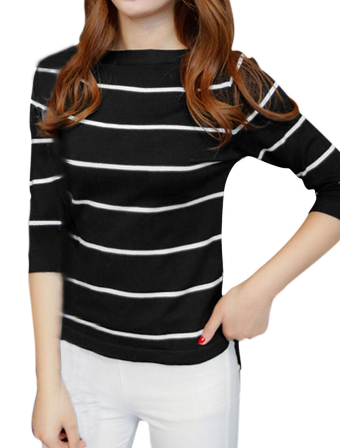 Women Boat Neck 3/4 Sleeves Low High Hem Stripe Knit Top Black XS