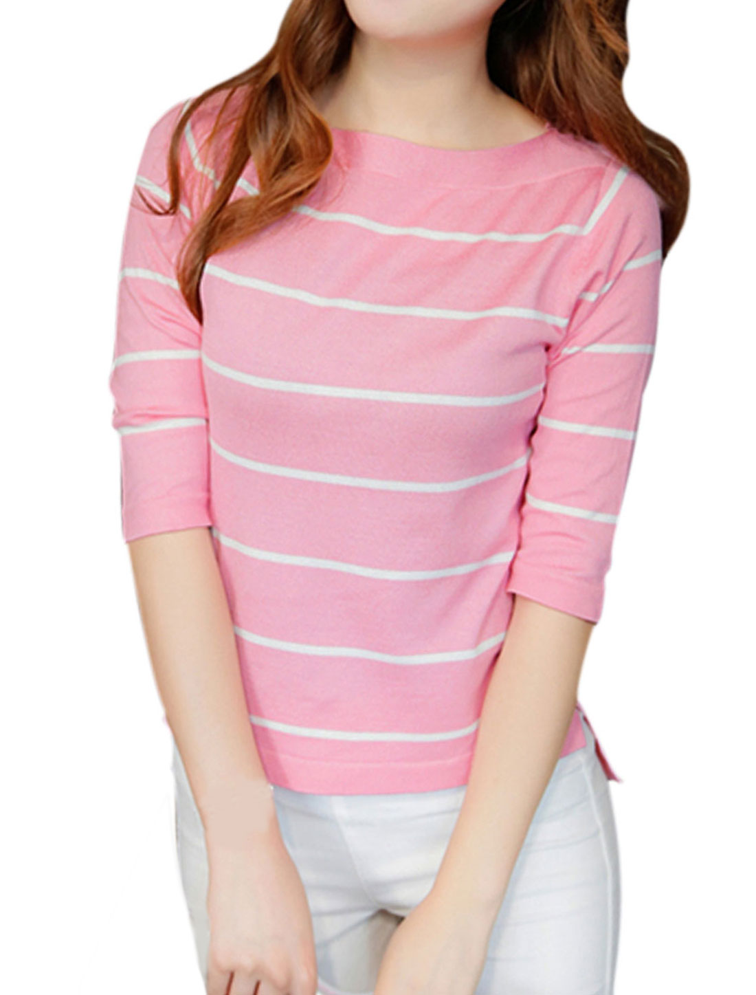 Women Boat Neck 3/4 Sleeves Slim Fit Stripe Knit Shirt Pink XS