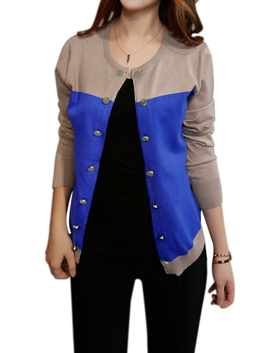 Allegra K Women Round Neck Button Decor Color Block Knit Cardigan Khaki Blue XS