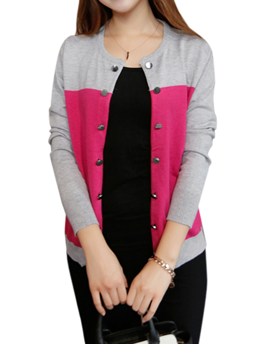 Women Long Sleeves Front Opening Color Block Knit Cardigan Fuchsia Light Gray XS