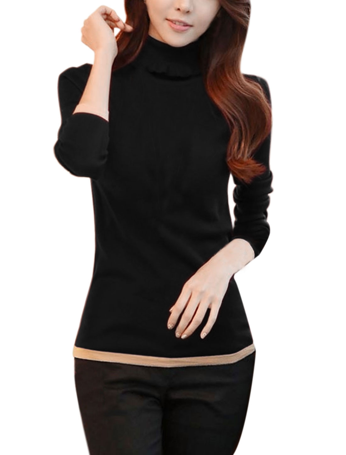 Women Turtle Neck Pullover Slim Fit Casual Knit Shirt Black XS