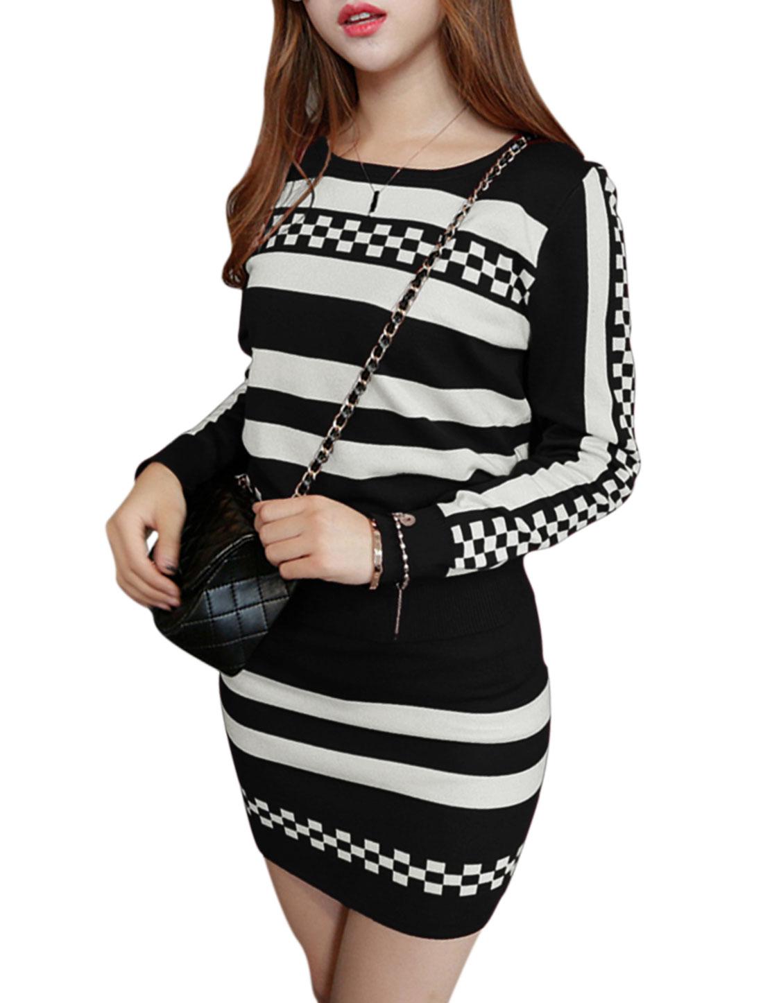 Women Long Sleeve Jumper w Plaids Stripes Knitted Skirt Set Black XS