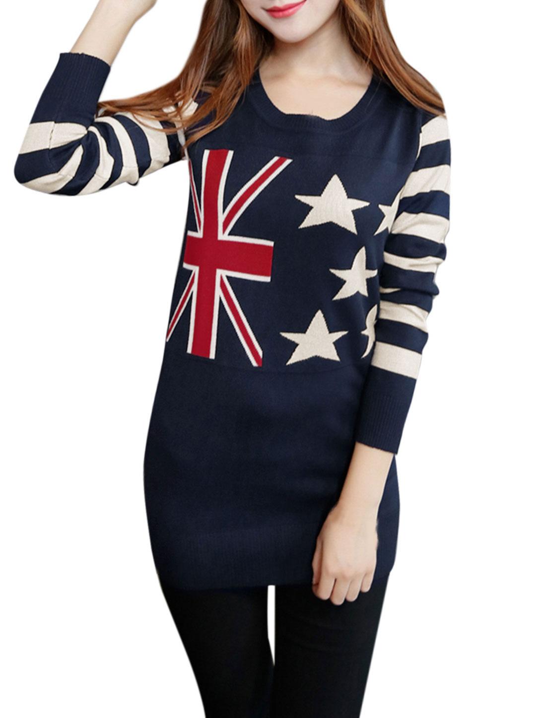 Woman Stripes Stars Union Jack Flag Pattern Tunic Knit Shirt Navy Blue XS