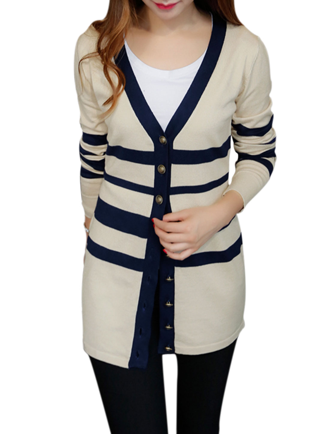 Women Button Closure Front Stripes Tunic Knit Cardigan Beige S