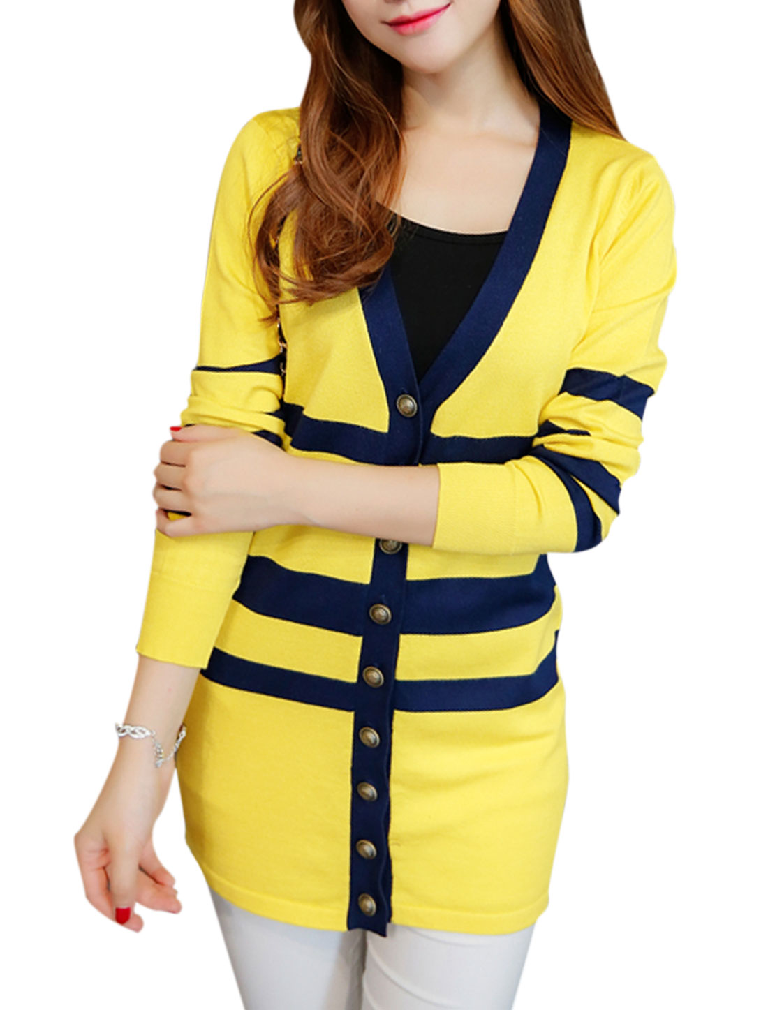 Women Long Sleeve Streak Contrast Color Tunic Knit Cardigan Yellow S