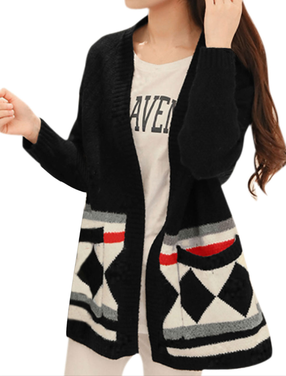 Women Long Sleeve Loose Fitting Buttonless Sweatercoat Black S