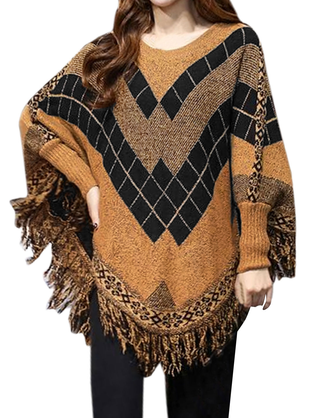 Women Long Batwing Sleeve Argyle Tassels Knit Shirts Blouse Khaki M