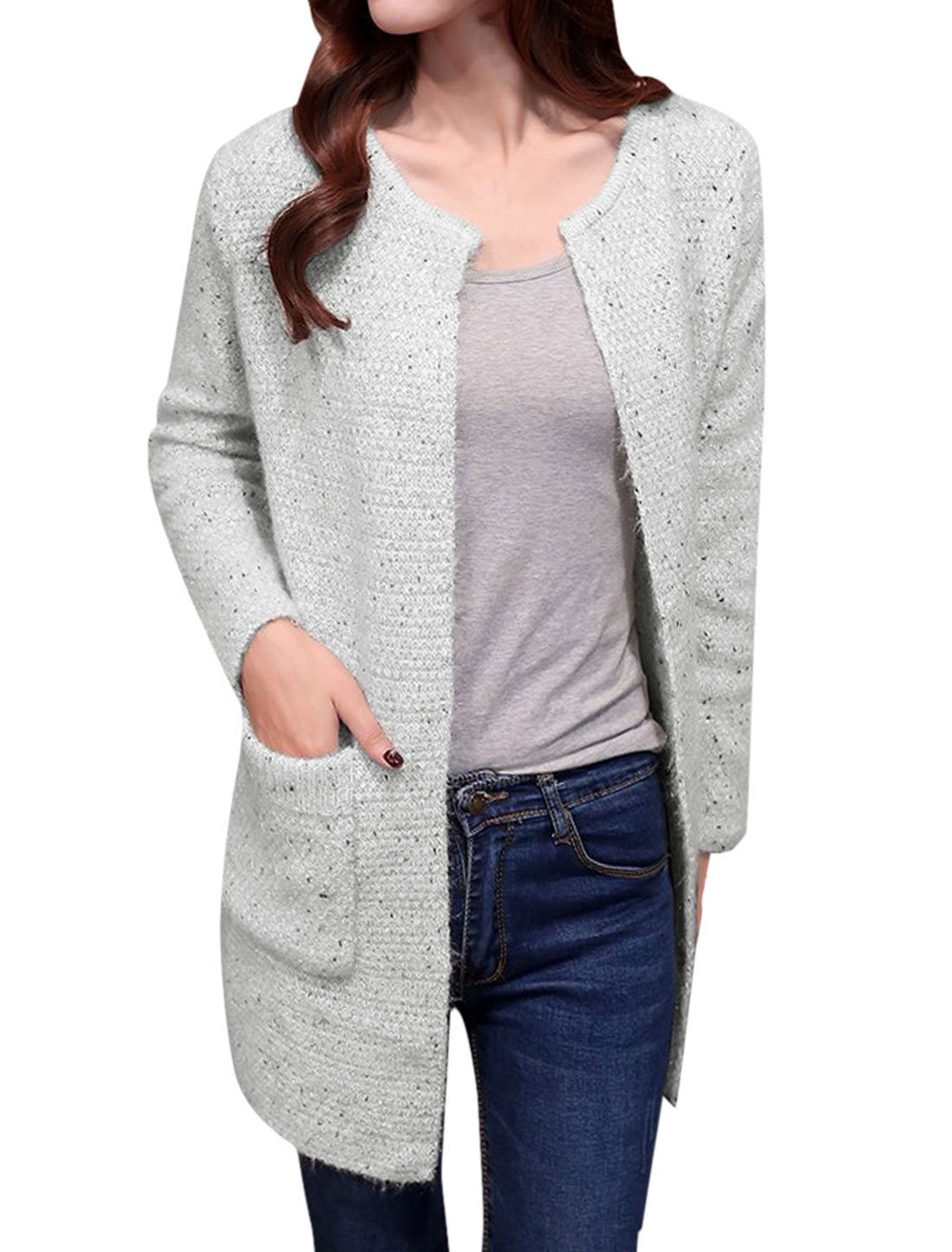 Women Long Sleeve Front Opening Sweater Cardigan Off White S