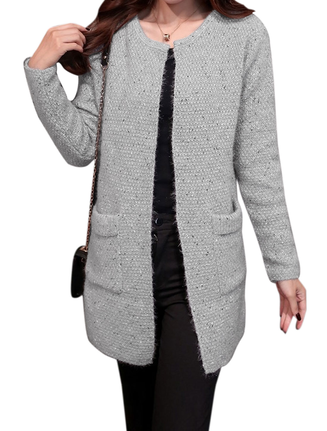 Women Long Sleeve Open Front Shining Detail Knitted Cardigan Gray S