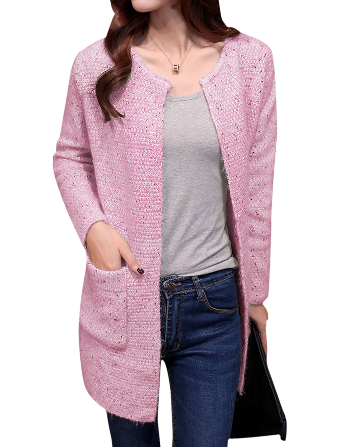 Women Buttonless Two Front Pockets Casual Knitwear Cardigan Pink S