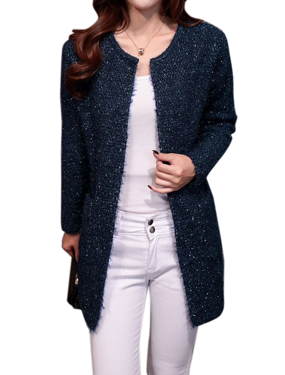 Women Round Neck Buttonless Tunic Sweater Cardigan Navy Blue S