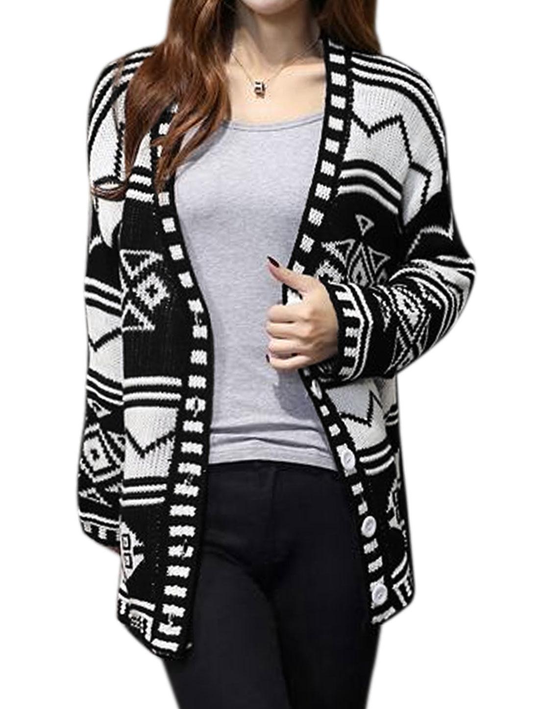 Women Long Sleeve Geometric Prints Tunic Sweater Cardigan Black M