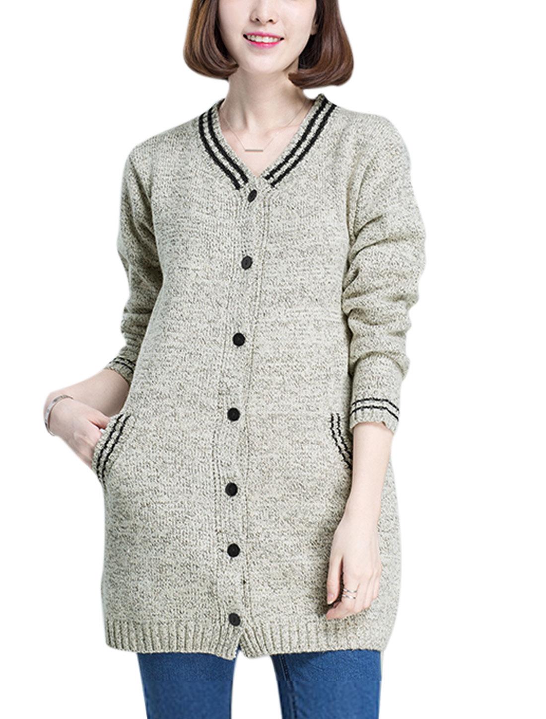 Women V Neck Single Breasted Two Slant Pockets Tunic Sweatercoat Light Gray S