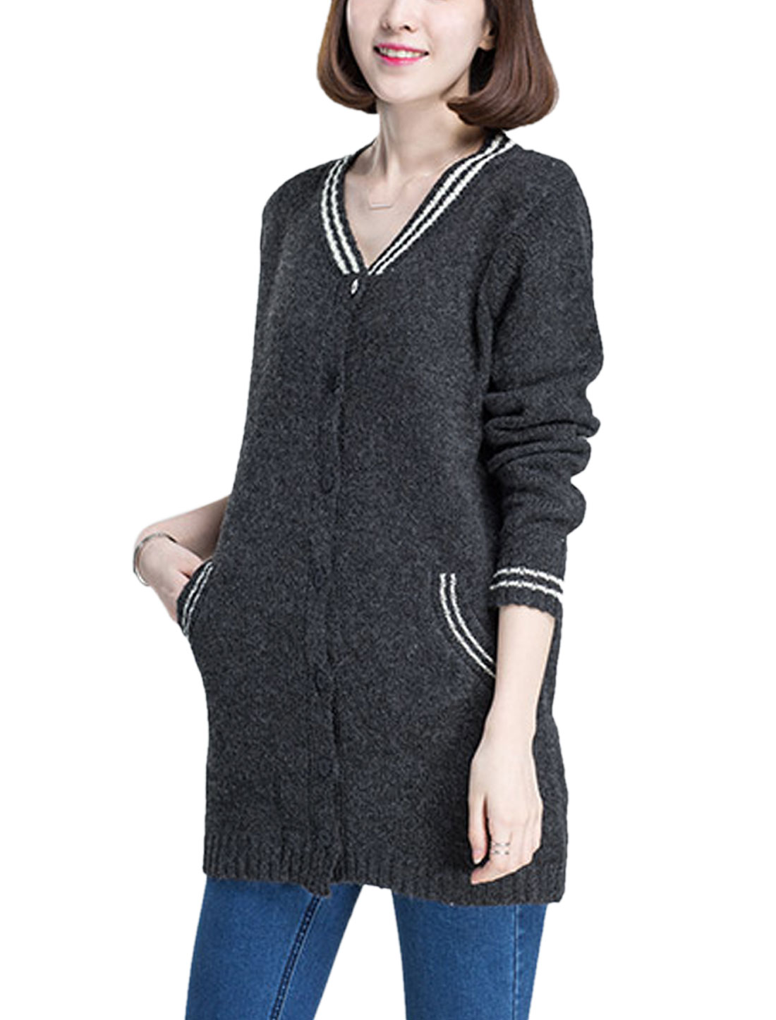 Women V Neck Button Closure Front Tunic Sweatercoat Dark Gray S