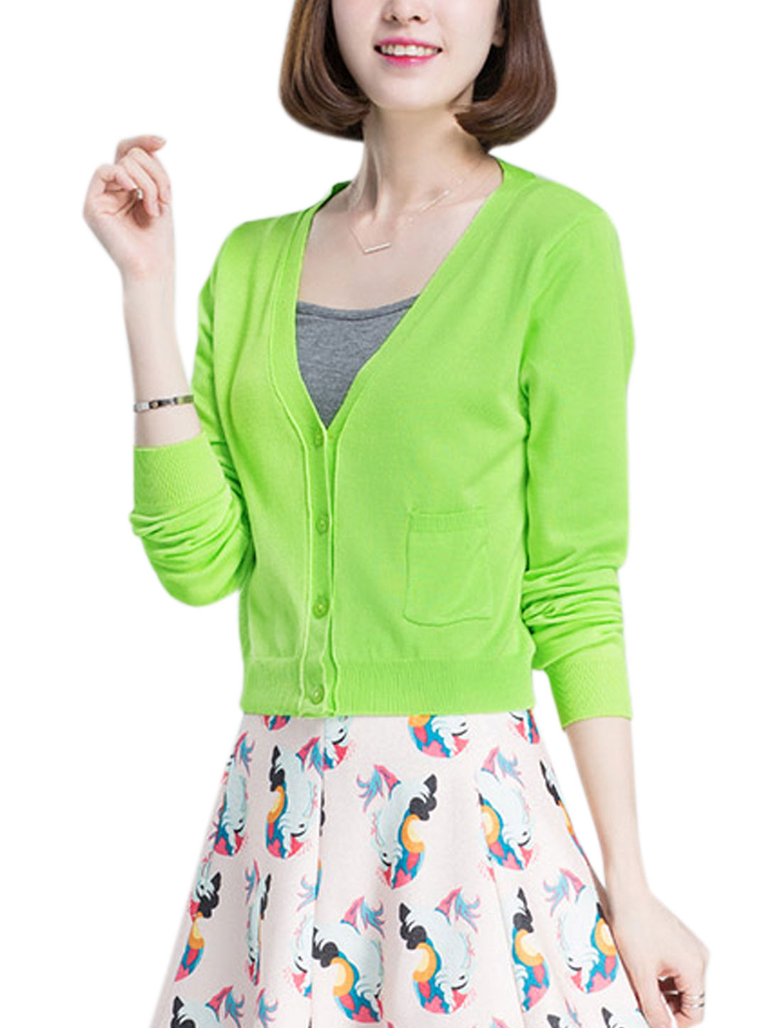 Woman Deep V Neck Long Sleeves Four-Button Placket Cropped Knit Cardigan Apple Green XS