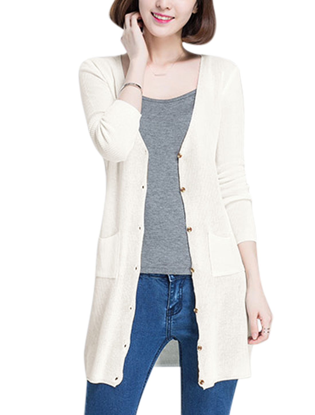 Woman Deep V Neck Single Breasted Two Pockets Knit Cardigan White M