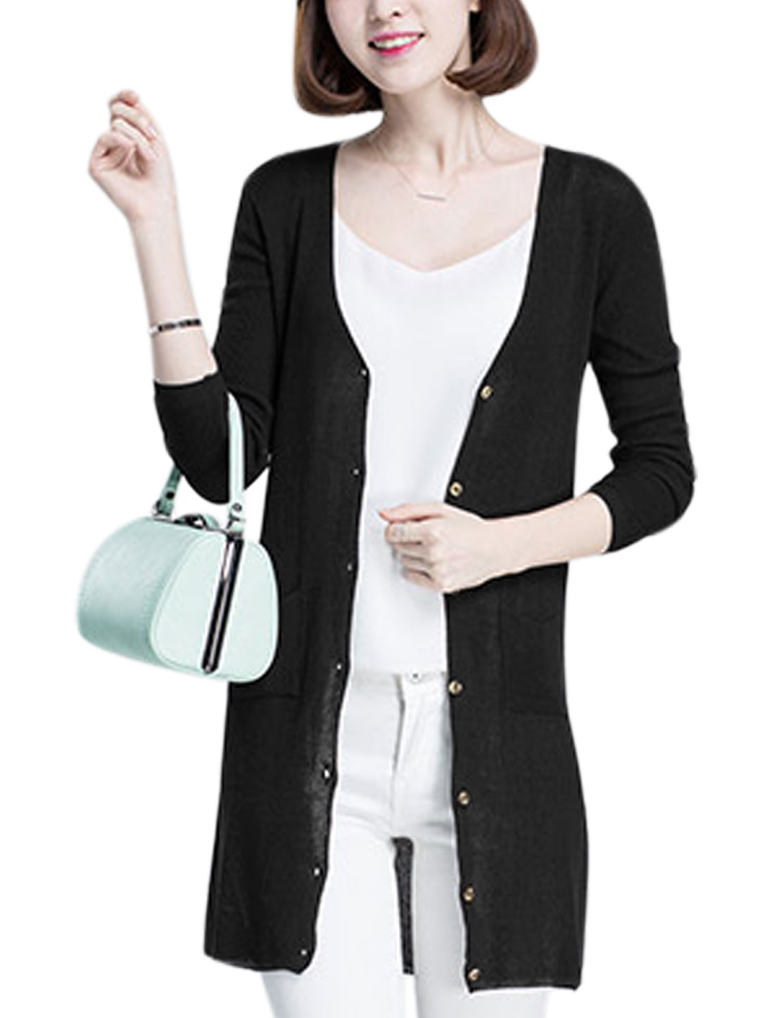 Woman Deep V Neck Long Sleeve Pockets Front Knit Cardigan Black M