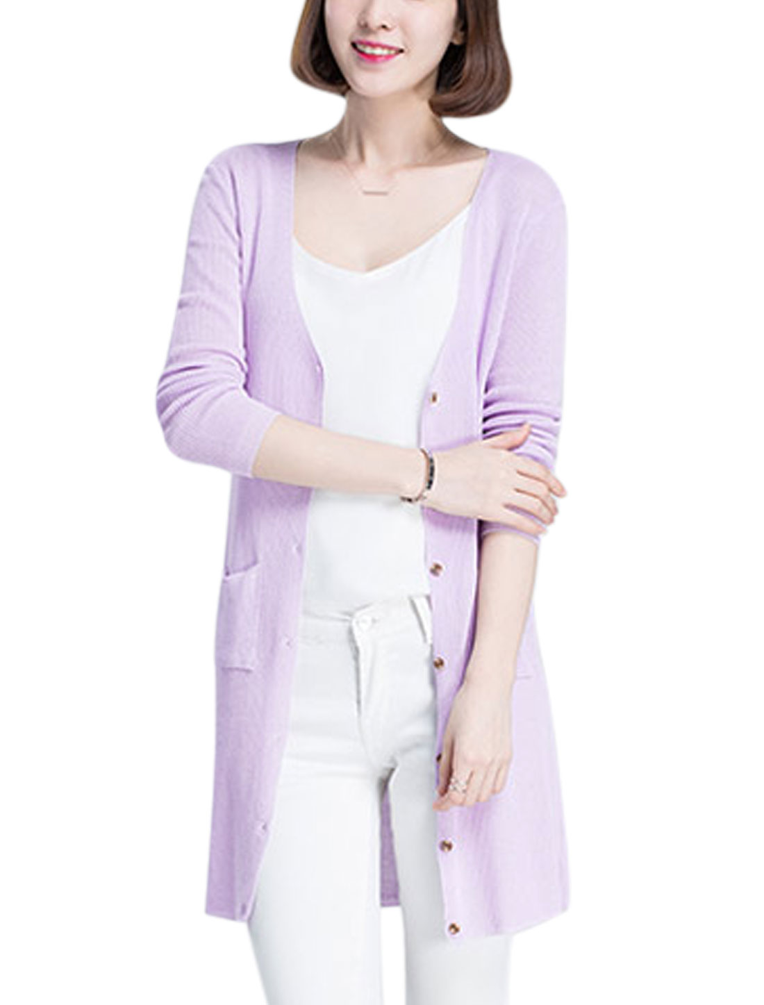 Woman Single Breasted Pockets Stretchy Casual Knit Cardigan Violet M