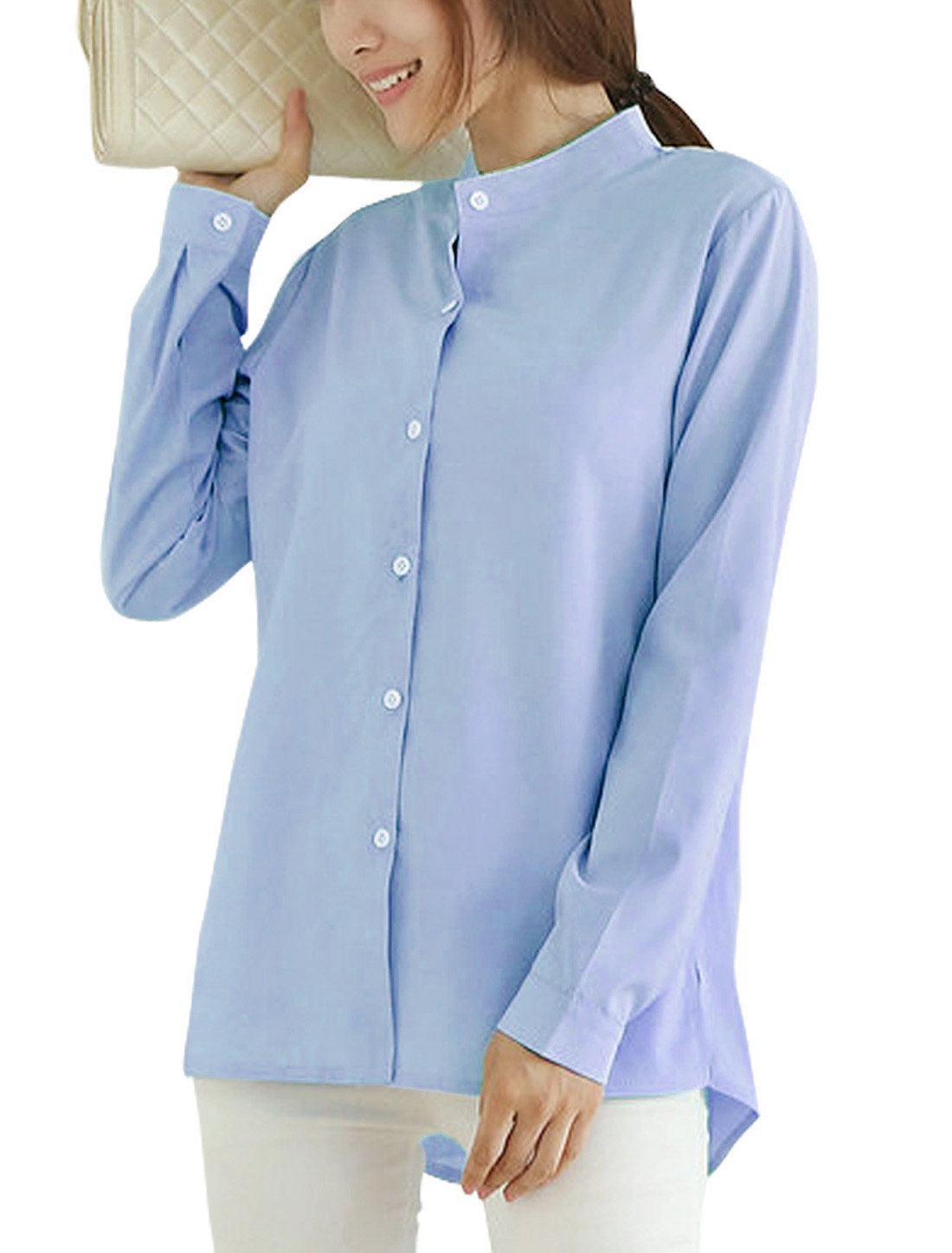 Women Stand Collar Long Sleeve Casual Shirts Light Blue S