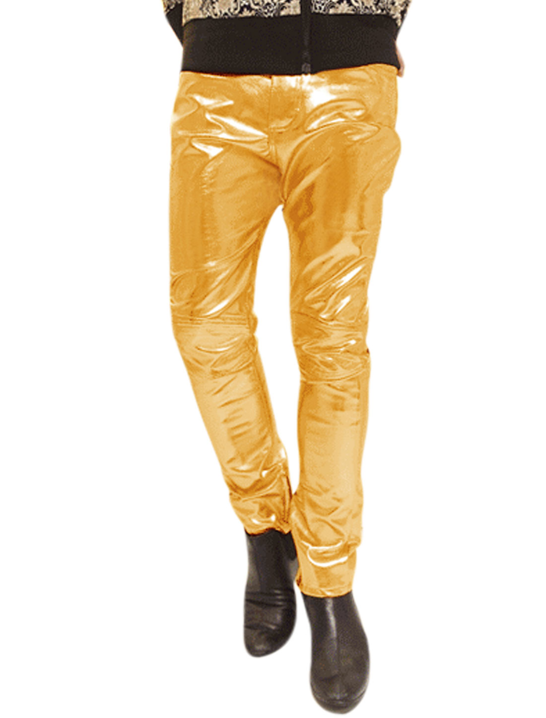 Mid Rise Two Button Closure Skinny PU Pants Golden Tone W32