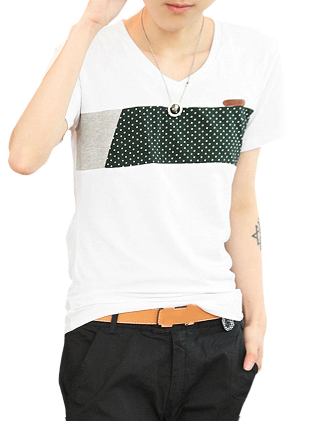 Men V Neck Short Sleeve Dots Color Block Tee Shirt White S