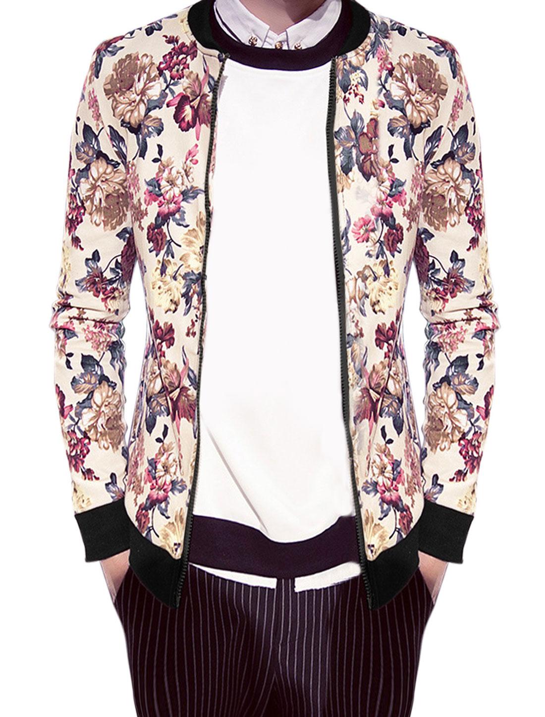 Men Stand Collar Zip Up Floral Prints Varsity Jacket Beige M